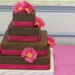 Pink on Brown Square Wedding